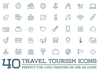 Set of Vector Travel Tourism and Holiday Elements Icons Illustration can be used as Logo or Icon in premium quality clip art vector