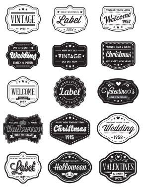 Set of 15 Vintage Retro Labels