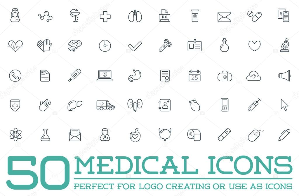 Set of 50 Medical Health Icons