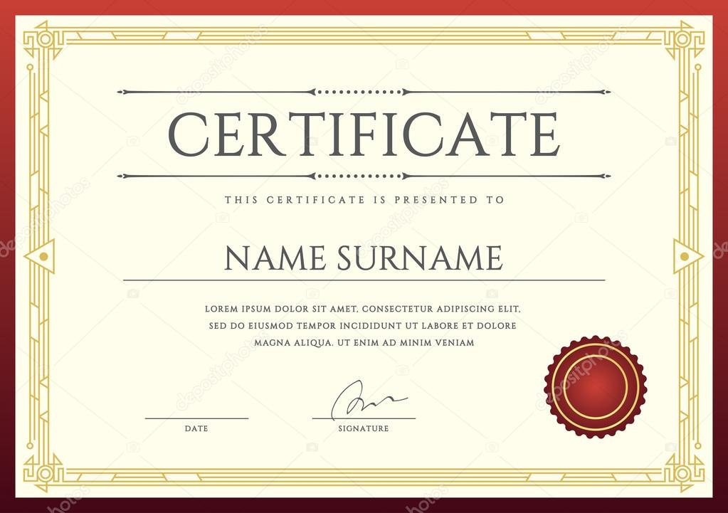 Modelo De Certificado Ou Diploma Vetor De Stock 169 Ckybe