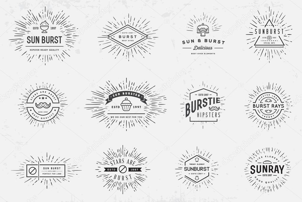 Sunburst Element Set for Logo Creating