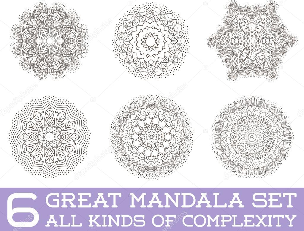 Set of Ethnic Fractal Mandala