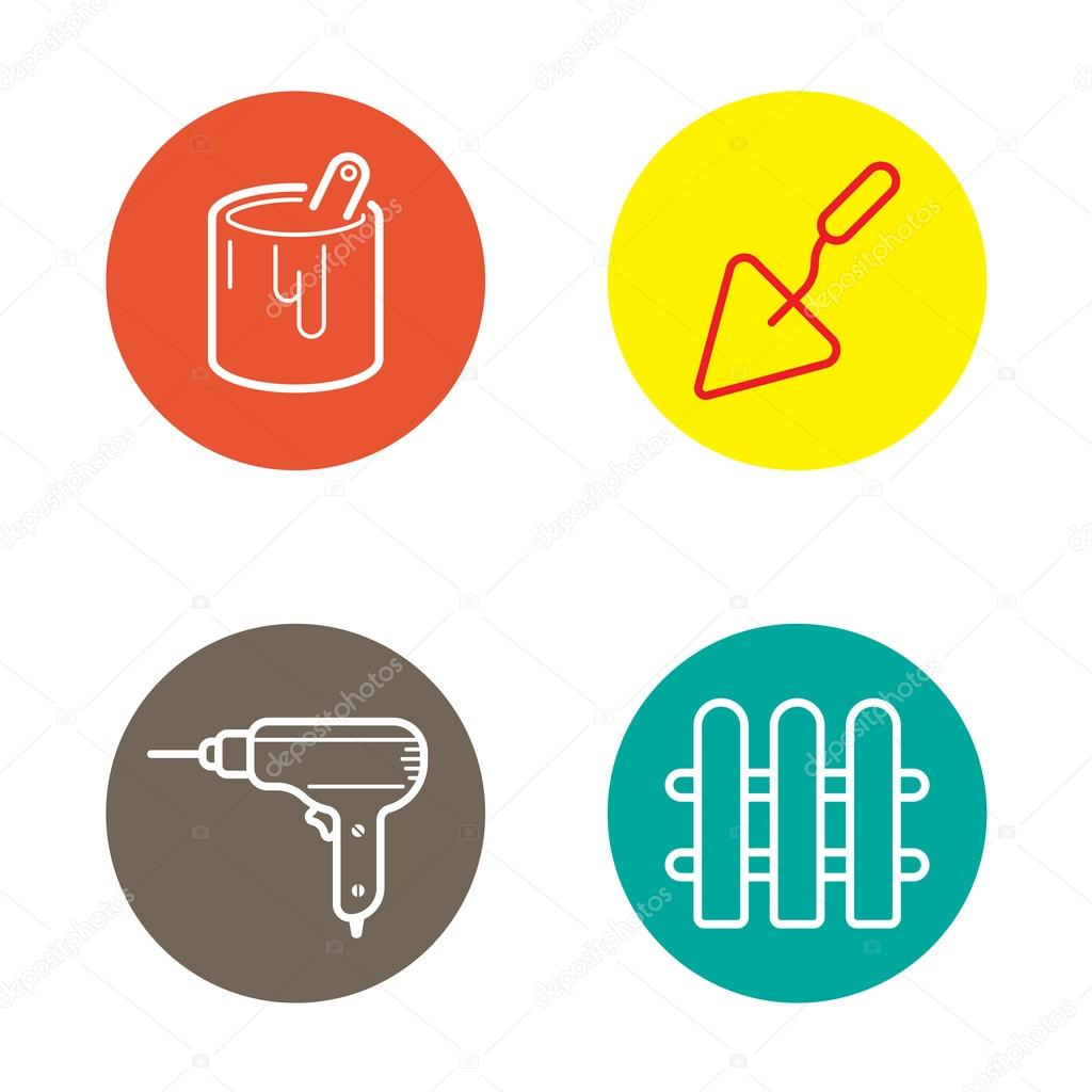 Round Circle Industry Buttons with Icons