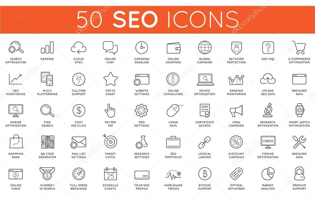 Set of 50 SEO Icons