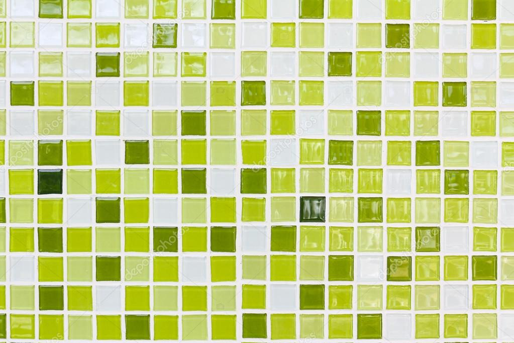 Wall and floor mosaic tiles in shades of green — Stock Photo ...