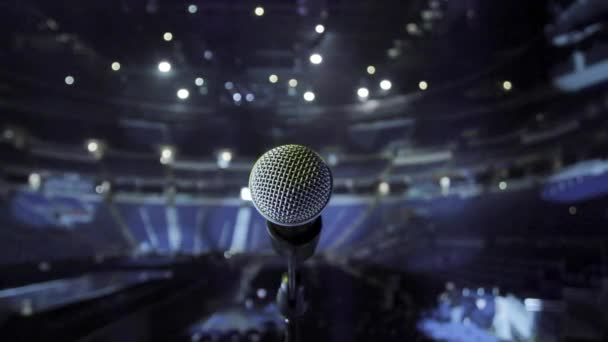 Close up of Microphone on Stage, taken from stage facing empty venue
