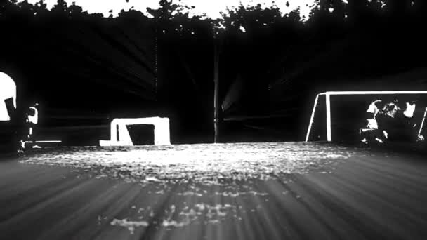 Cool shot of Soccer players playing on a field  Black and White effects