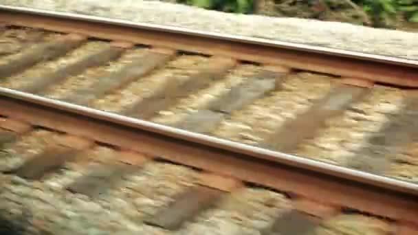 Train Rail shot from a moving trail