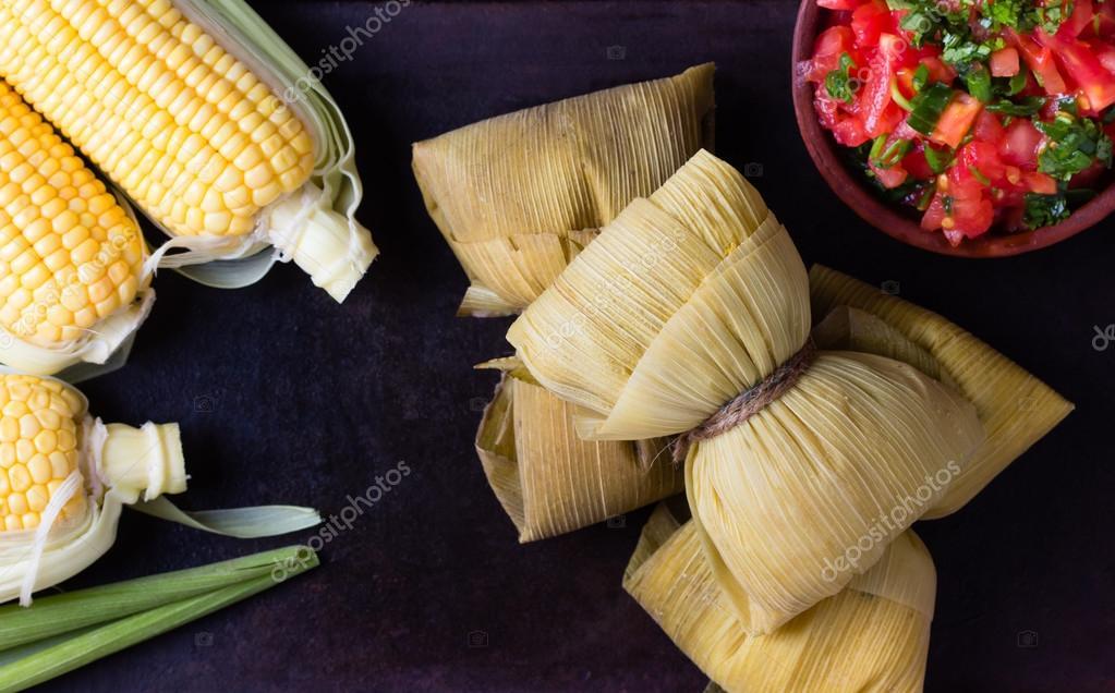 Latin American food. Traditional homemade humitas of corn.