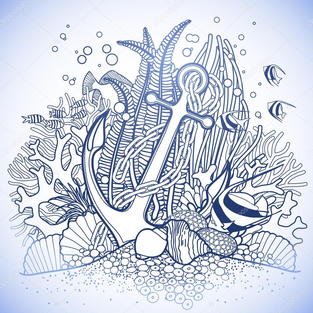 Anchor and coral reef