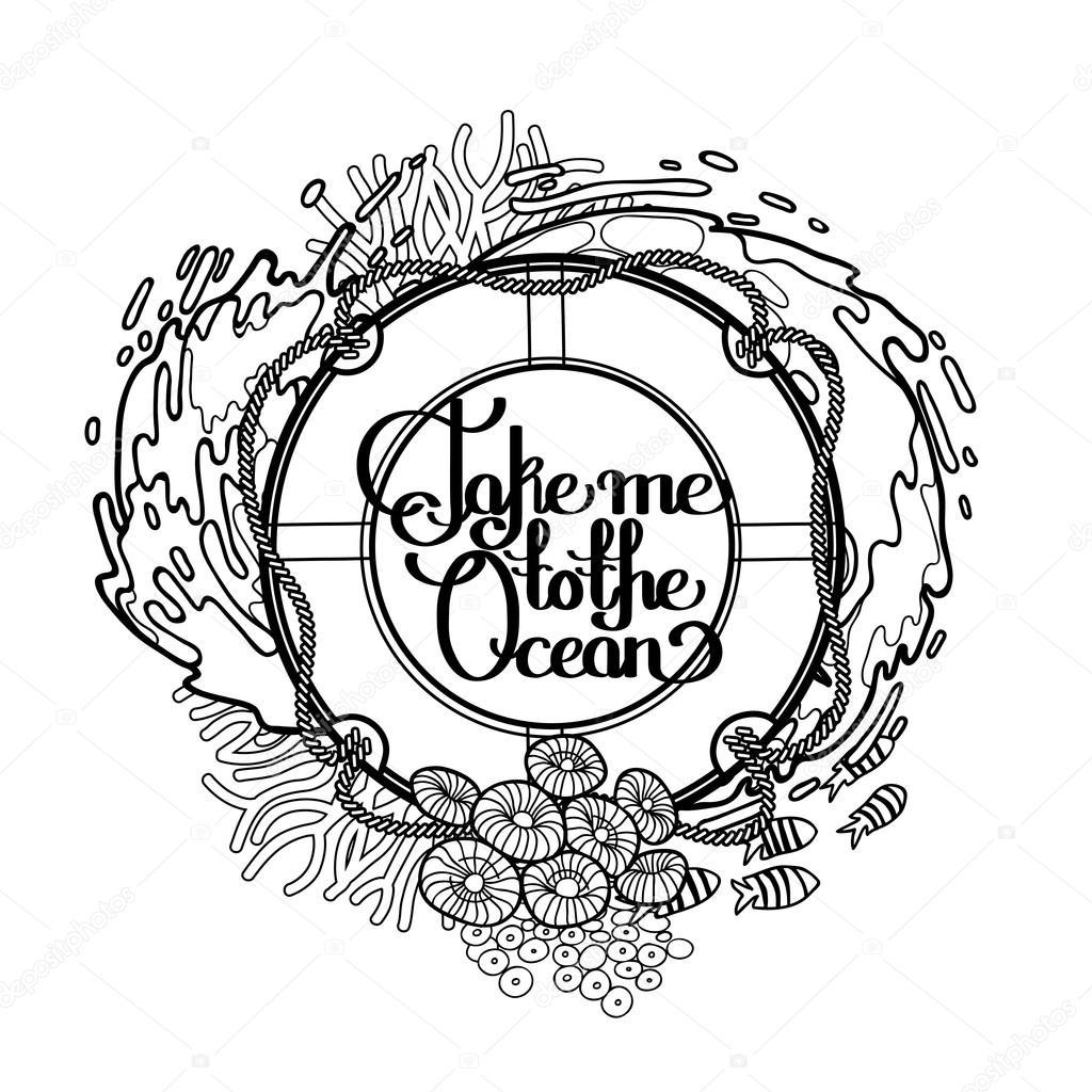 Aro salvavidas con diseño de océano — Vector de stock © homunkulus28 ...