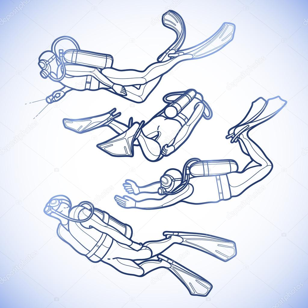 Graphic set of scuba divers