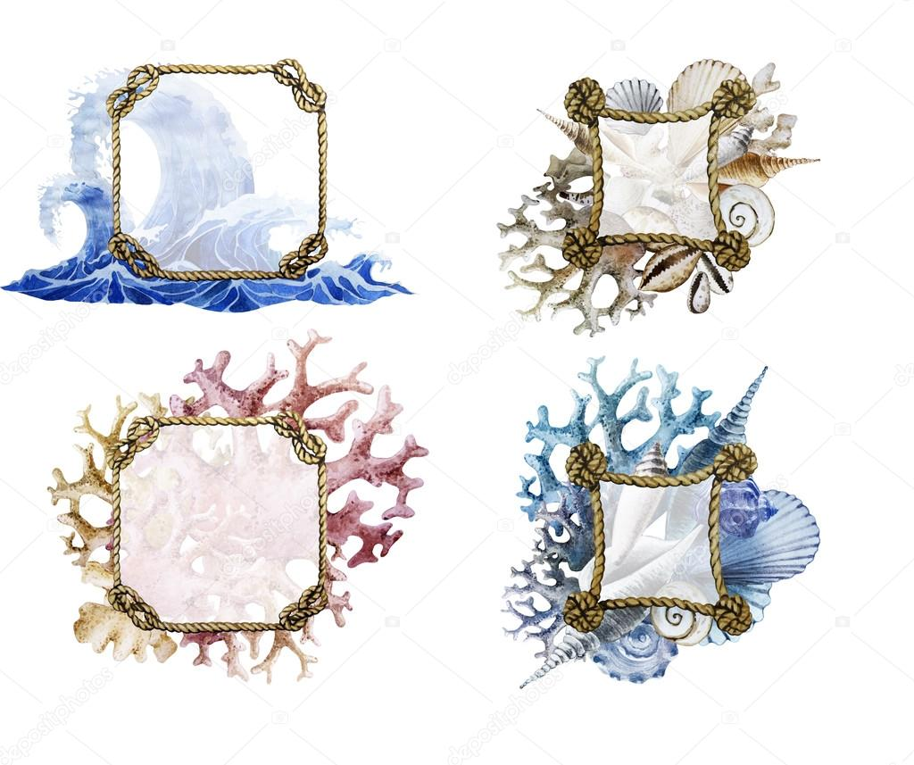 Watercolor rope frames with ocean design — Stock Photo ...