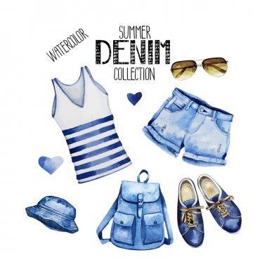 Watercolor summer clothes