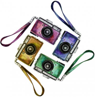 Watercolor vintage retro cameras