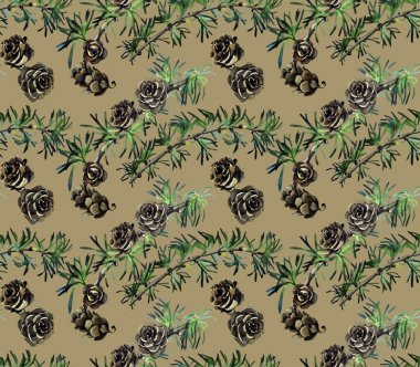 Watercolor pattern with pine branches