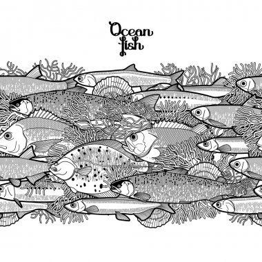 Graphic ocean fish border
