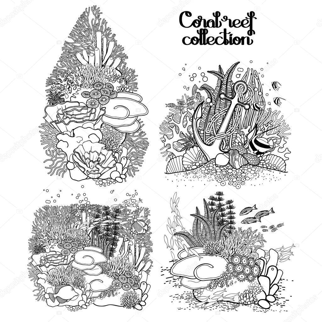 Colección gráfica de arrecife de coral — Vector de stock ...