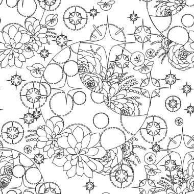 Graphic pattern with moon and succulents