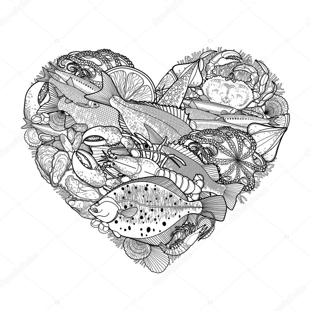 Kalp şeklinde Grafik Deniz ürünleri Stok Vektör Homunkulus28