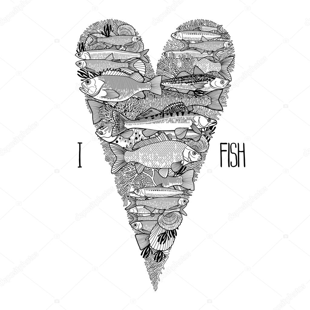 Graphic ocean fish in the shape of heart
