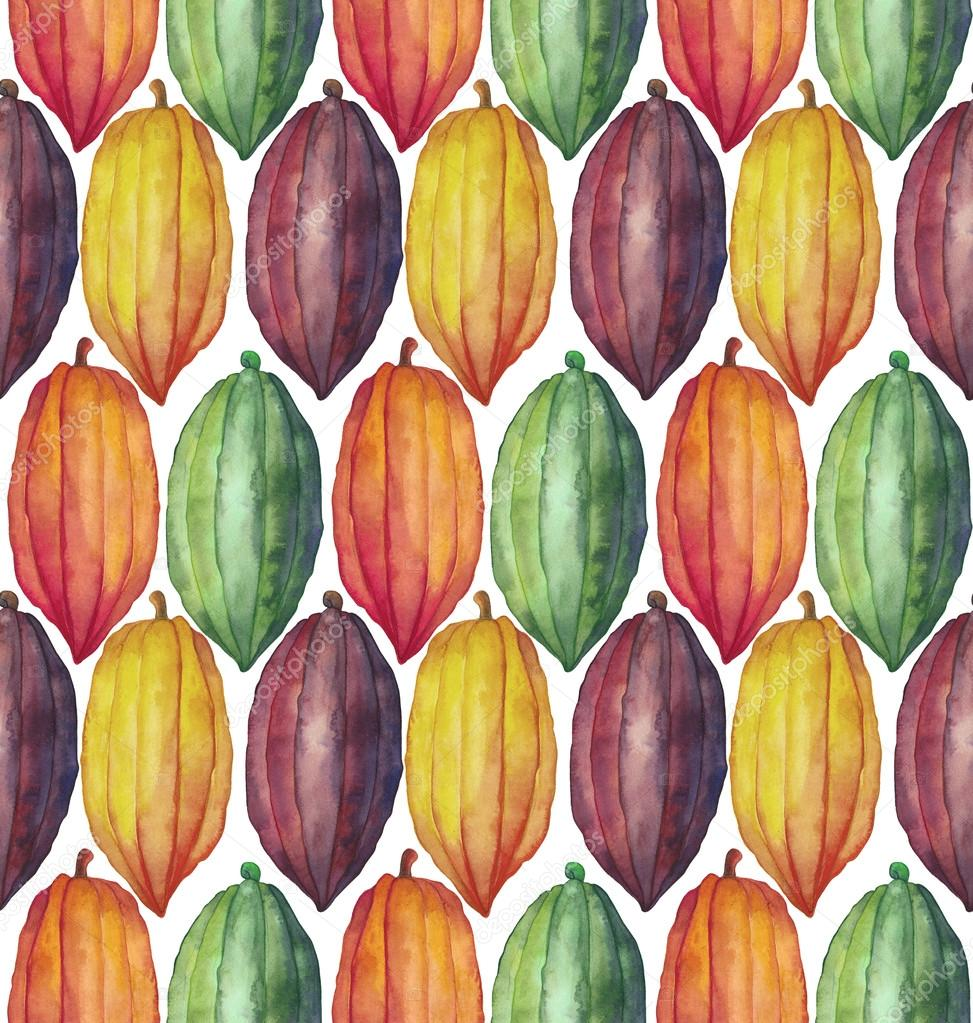 Watercolor cocoa fruit pattern