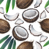 Watercolor coconut pattern