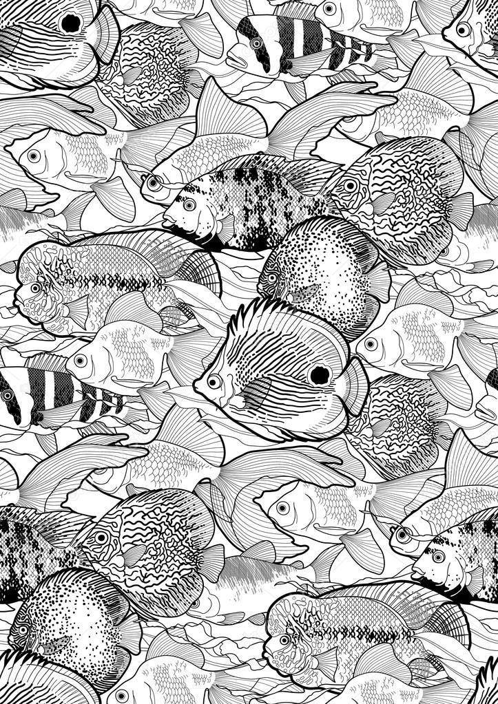 Graphic aquarium fish pattern