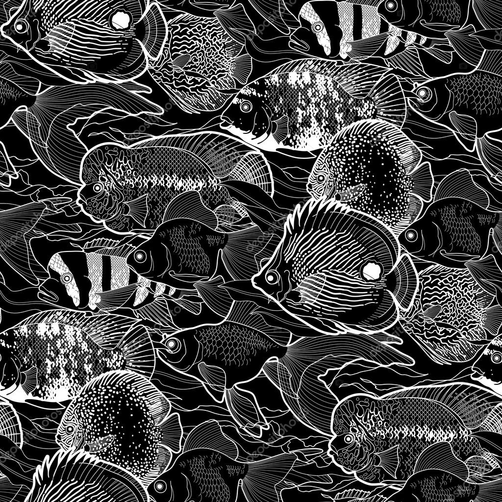 Graphic aquarium fish pattern