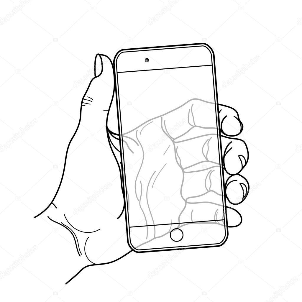 Imágenes Telefono Celular Para Colorear Gráfico Mano Con