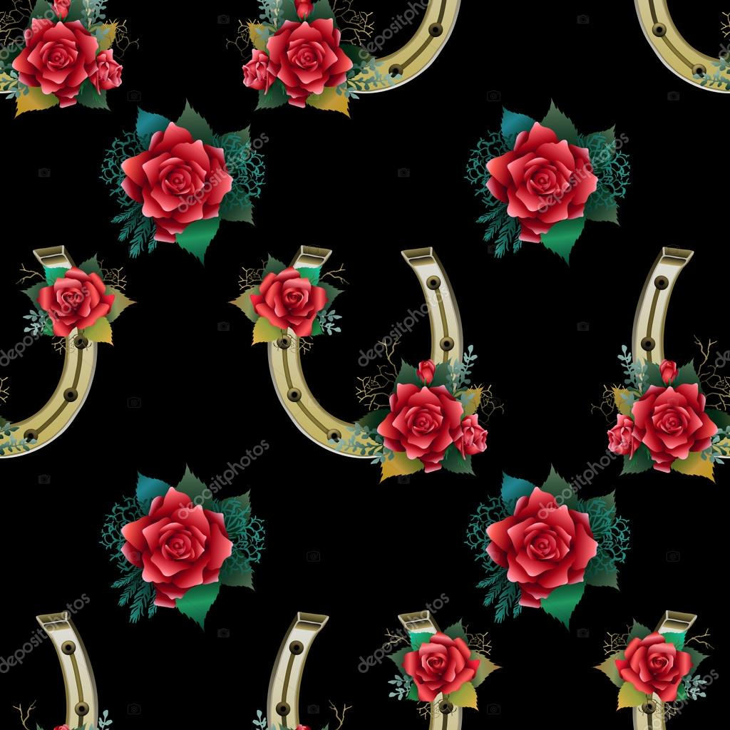 Pattern with horseshoes, rabbit foots and roses