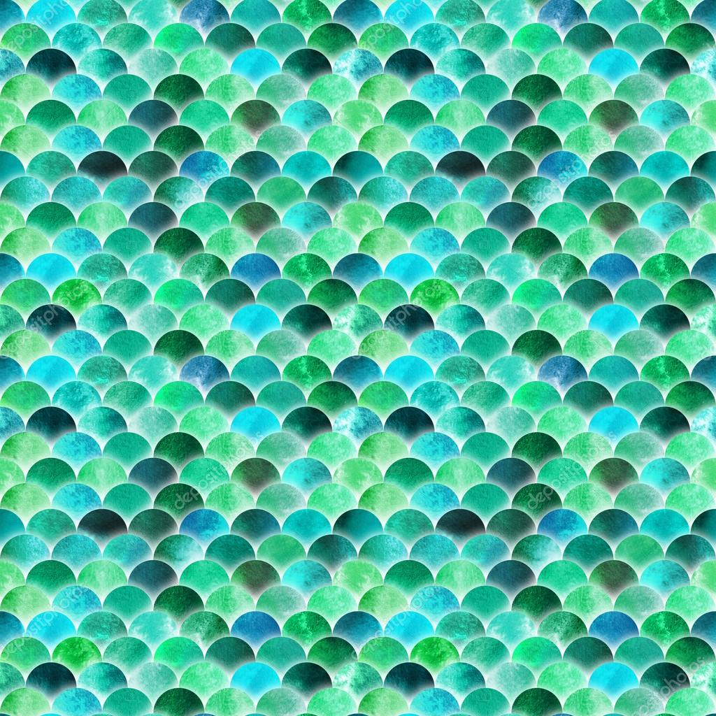 Watercolor pattern with scales