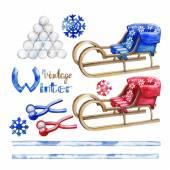 Watercolor winter activities