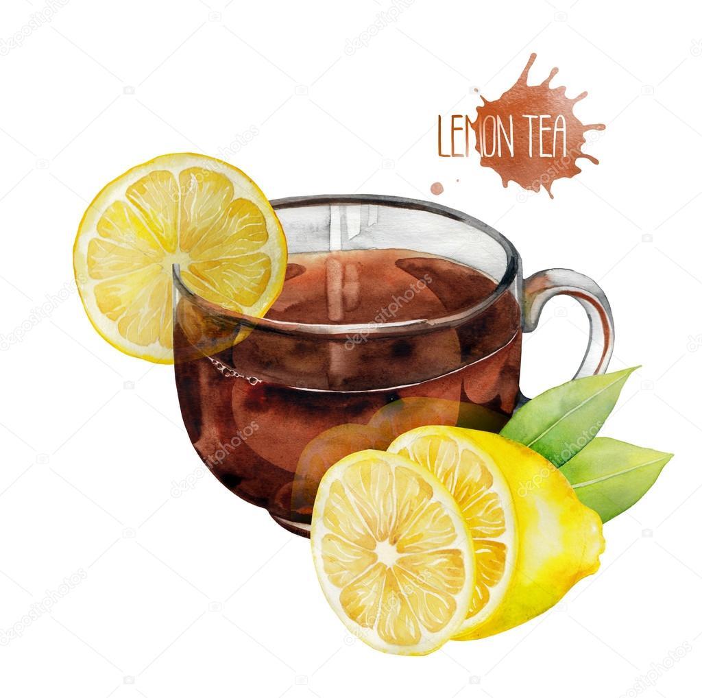 Watercolor tea cup with lemon
