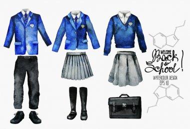 Watercolor school uniform