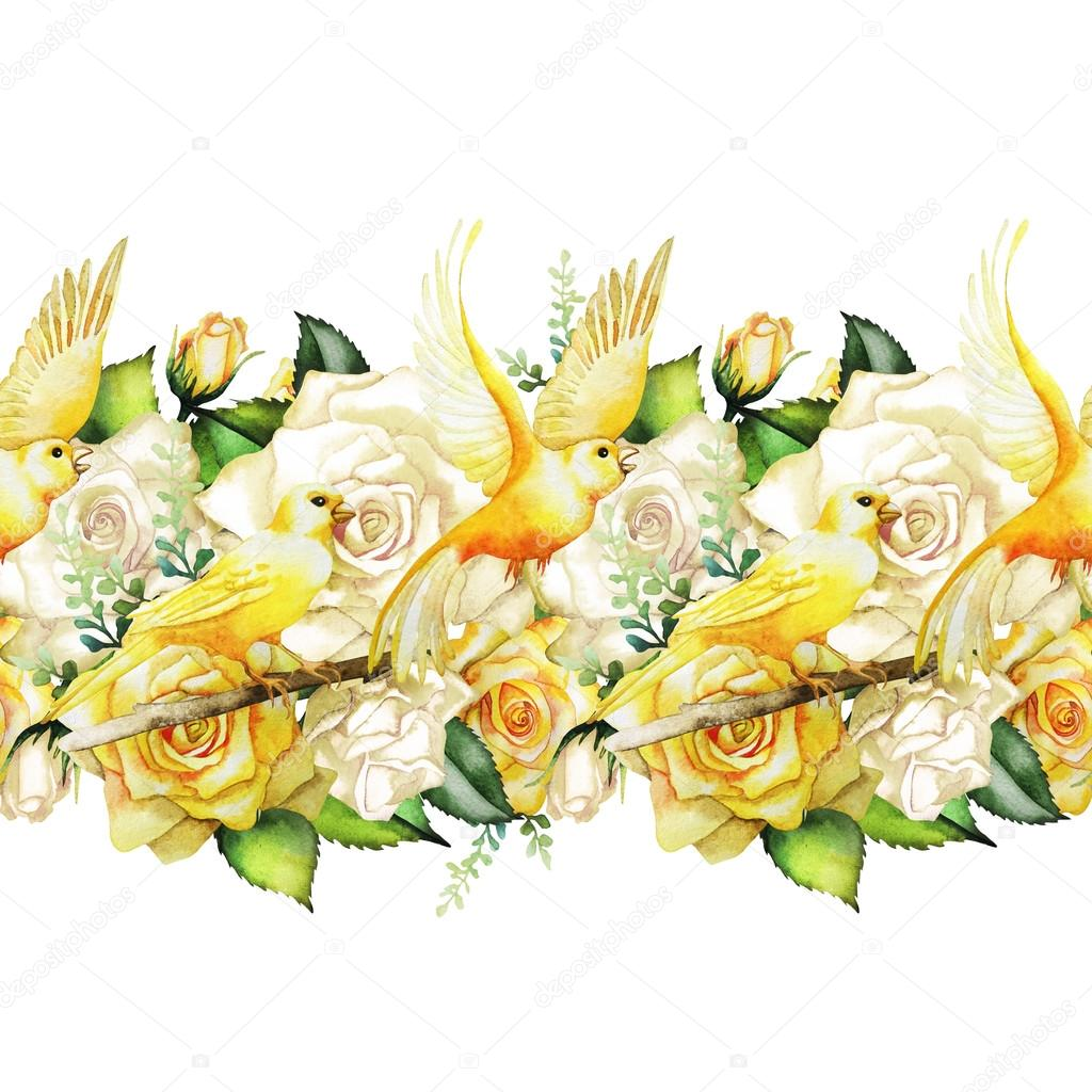 Watercolor  border with roses and canaries