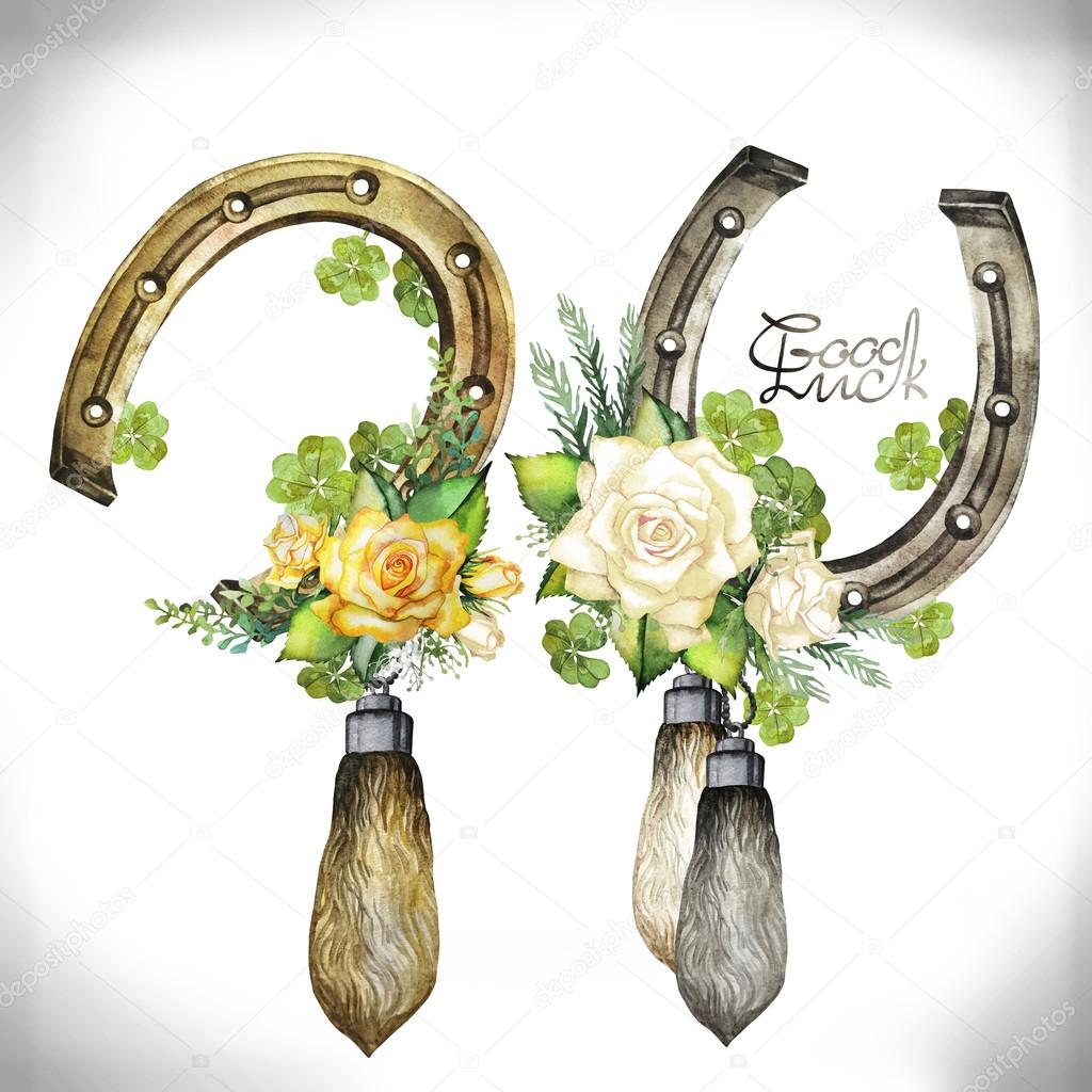 Horseshoes, rabbit foots, roses and clover