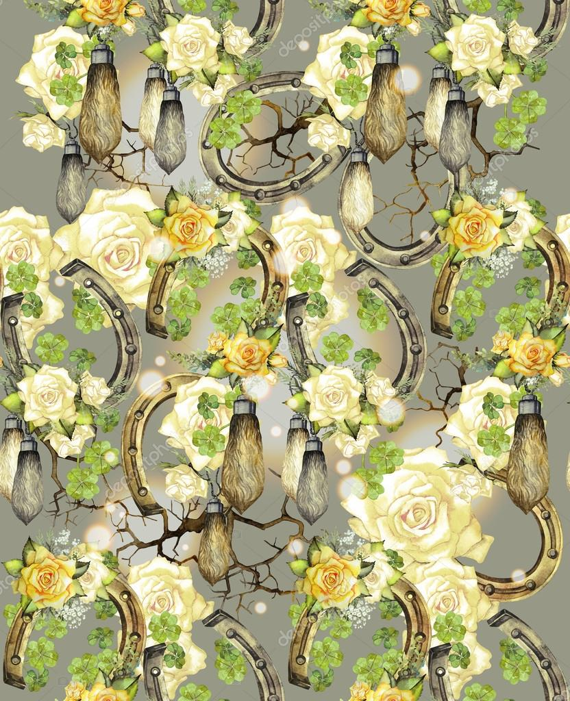Watercolor pattern with horseshoes