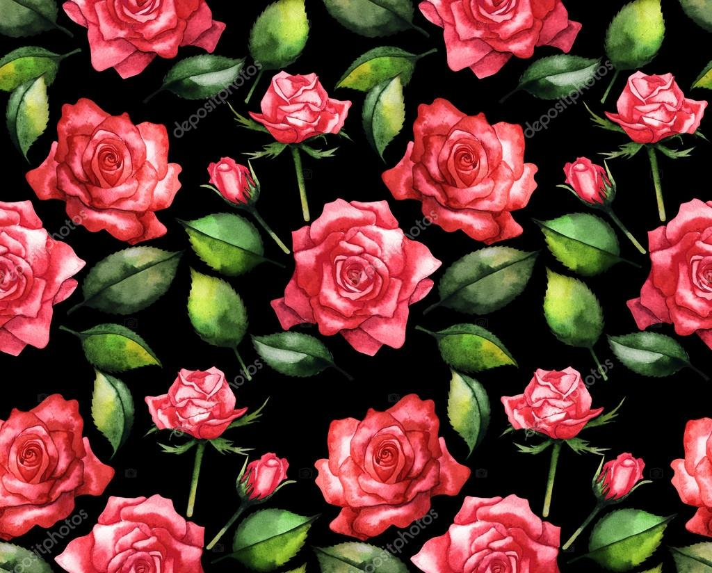 Watercolor red roses pattern
