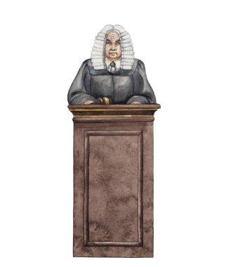 Watercolor judge in a wig