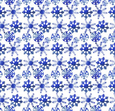 Watercolor pattern with snowflakes