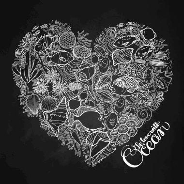 Ocean life in the shape of heart