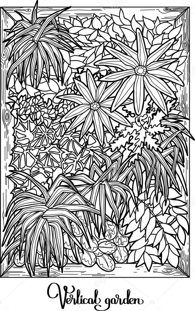Vertical garden in a line art style