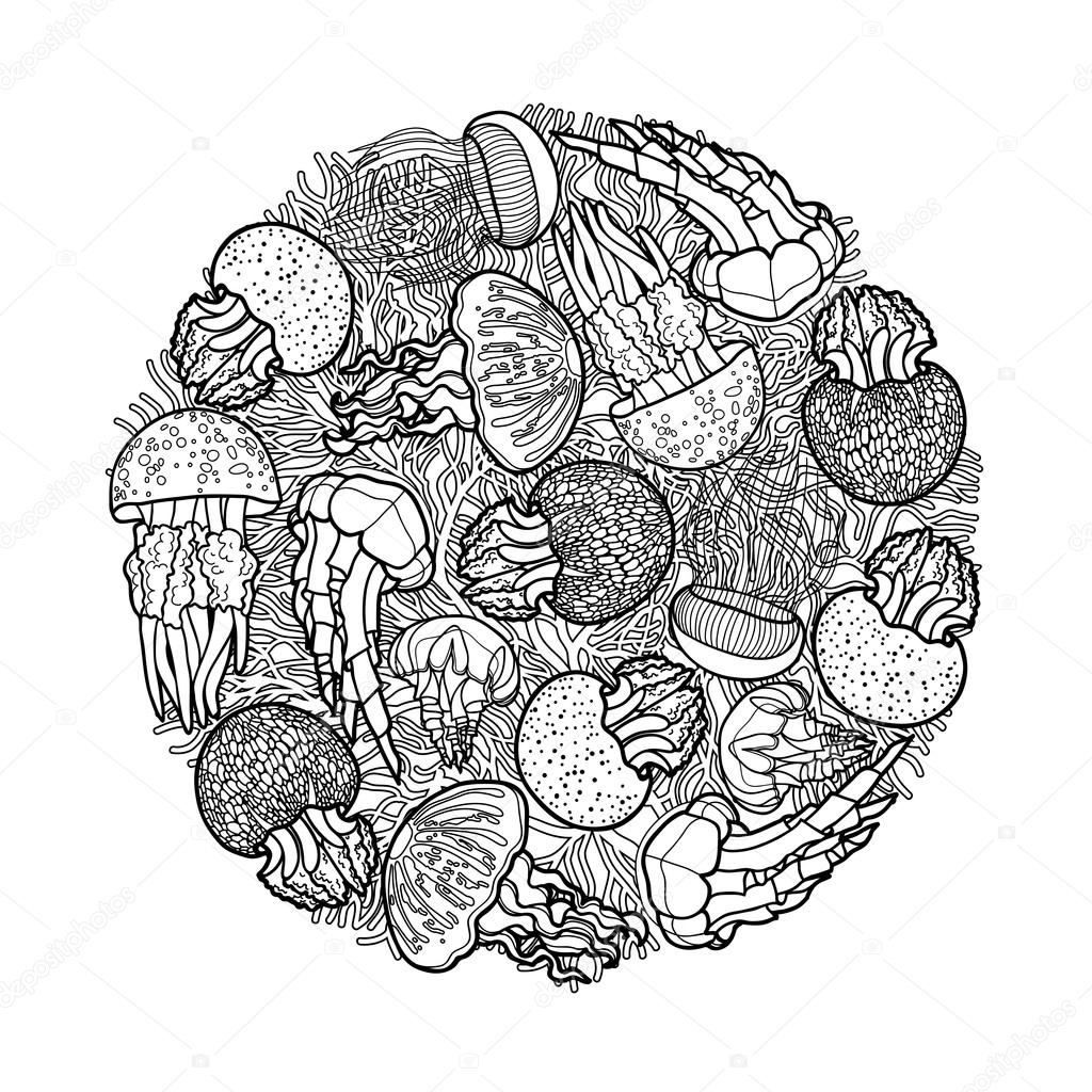 Diseño de círculo de medusas — Vector de stock © homunkulus28 #95264000