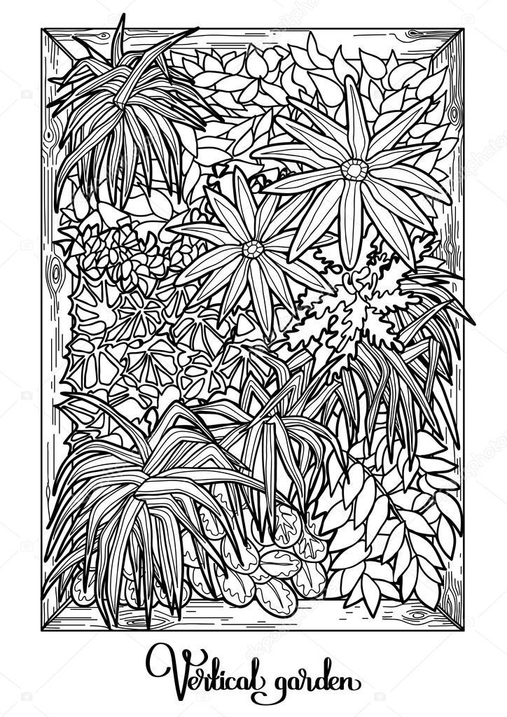 Pionowy ogr d w stylu sztuki linii grafika wektorowa for Que es un jardin ornamental