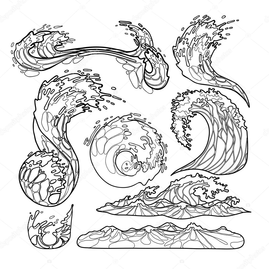 Imágenes Tsunami Para Dibujar Colección De Olas De Mar Vector