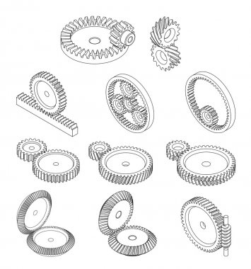 11 type of gears,gears type in vector