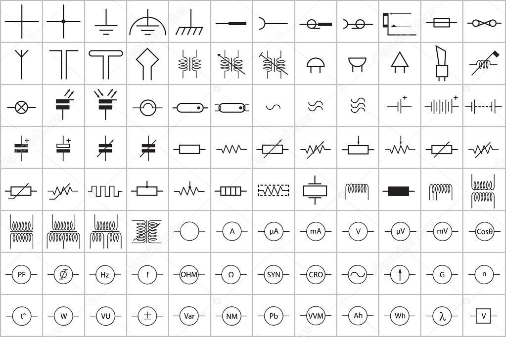 96 elektronische und elektrische Symbol Vektor Vol. 1 — Stockvektor ...