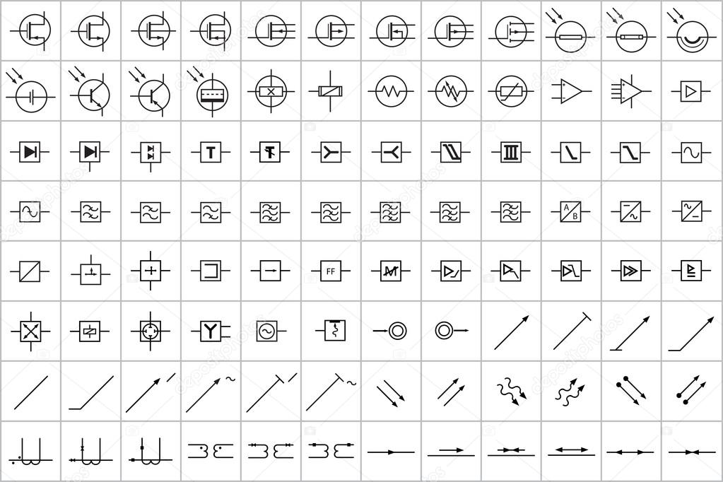 96 Electronic and Electric Symbols v.3 — Stock Vector © tewlyx #89035972