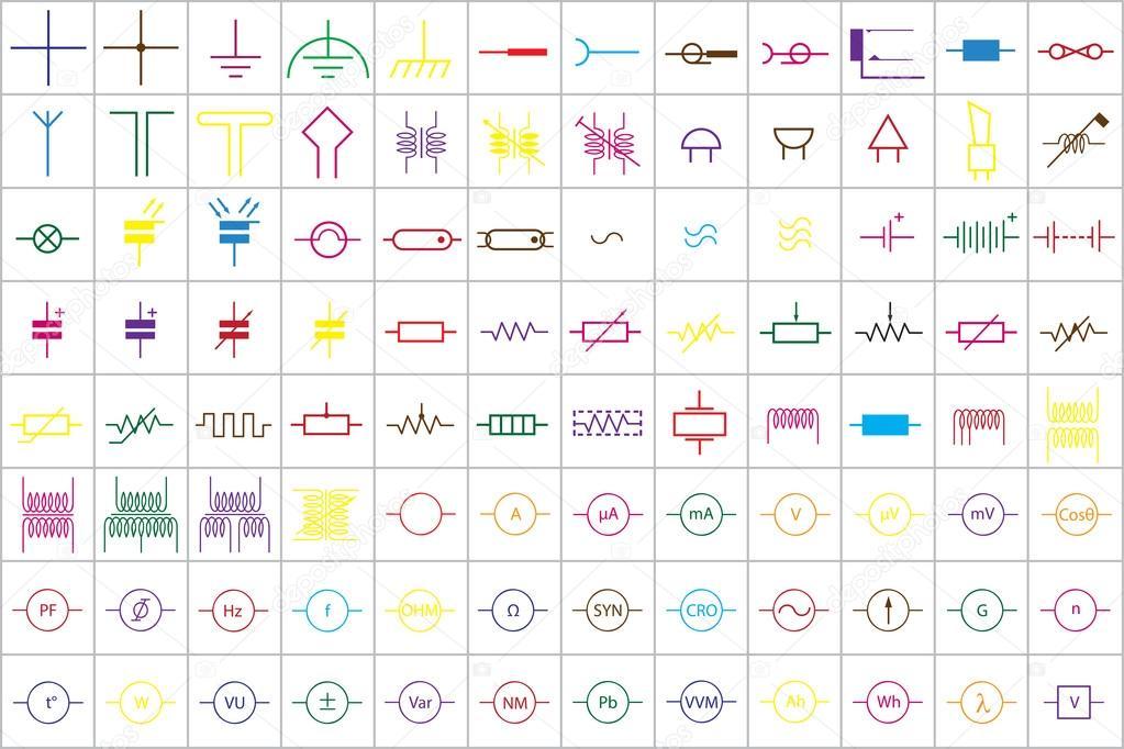 96 elektronische und elektrische Symbole v. 1 — Stockvektor © tewlyx ...